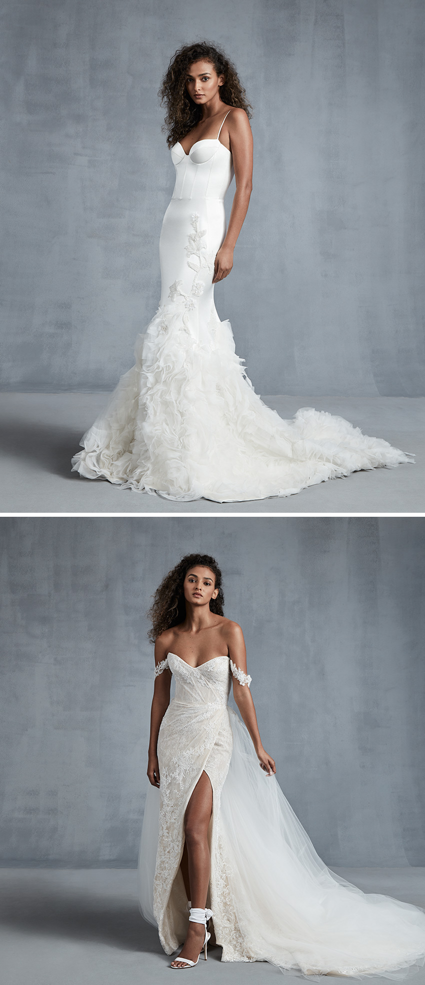 Ines Di Santo Fall 2021 bridal collection features blossoming details, appliqués that mimic watercolours feature in Perfect Wedding Magazine