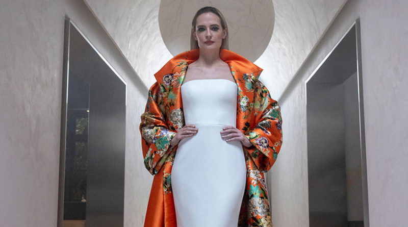 Romona Keveza Fall 2021 key wedding look is a fitted wedding dress with a coloured Chinoiserie printed opera coat featured in Perfect Wedding Magazine