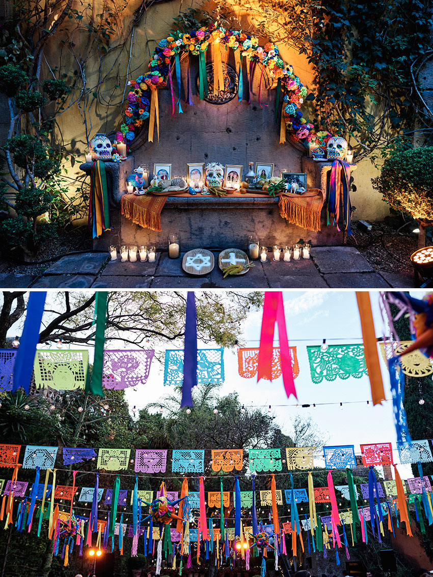 San Miguel de Allende destination wedding includes Altar Day of the Dead in rehearsal dinner featured in Perfect Wedding Magazine