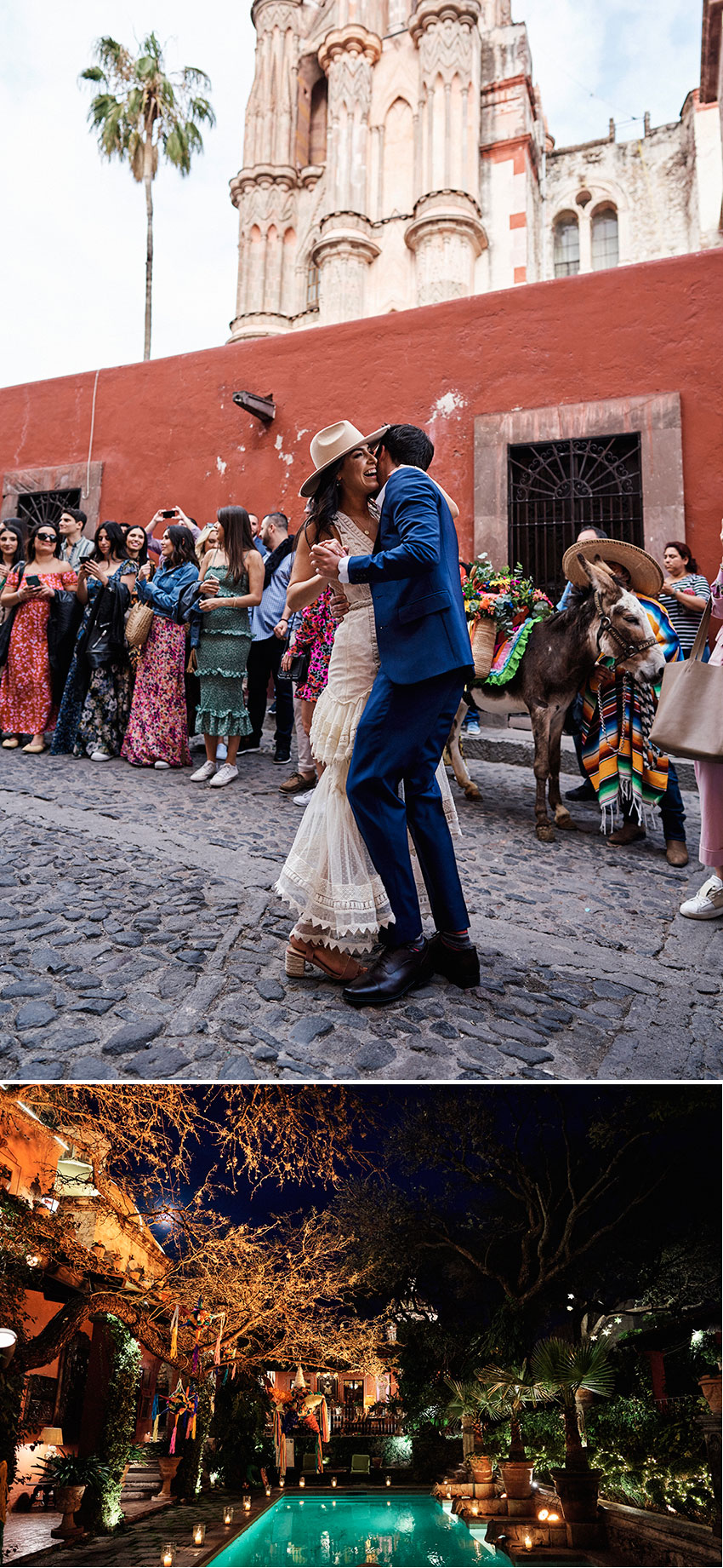 Couple dances in the streets of San Miguel de Allende to celebrate their destination wedding featured in Perfect Wedding Magazine