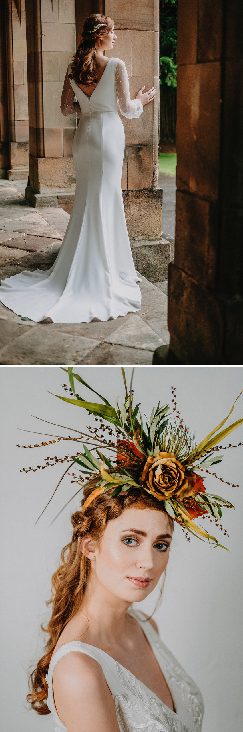 Bridal photographed in Sir Richard Arkwright's first mill wearing Wendy Makin wedding gowns featured in Perfect Wedding Magazine