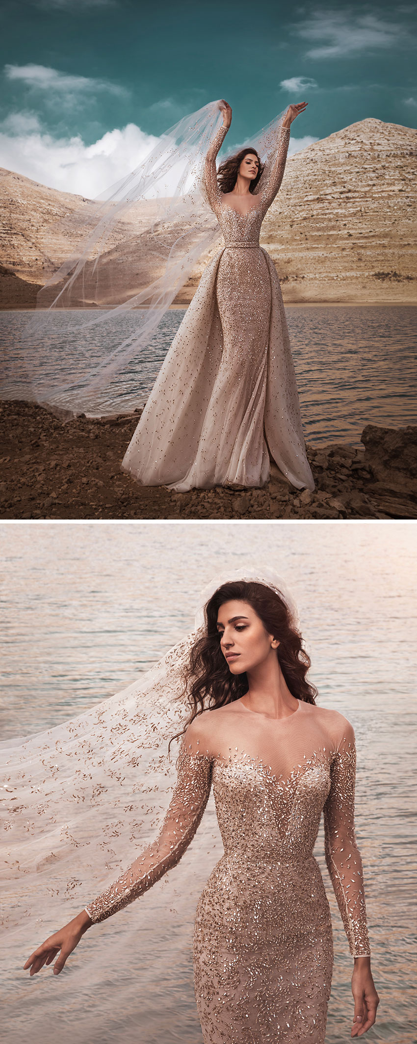 Zuhair Murad Fall 2021 Bridal collection made with golden embroideries on transparent fabrics featured in Perfect Wedding Magazine