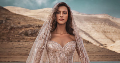 Zuhair Murad Fall 2021 bridal collection symmetrical drawn over strapless ball gown featured in Perfect Wedding Magazine