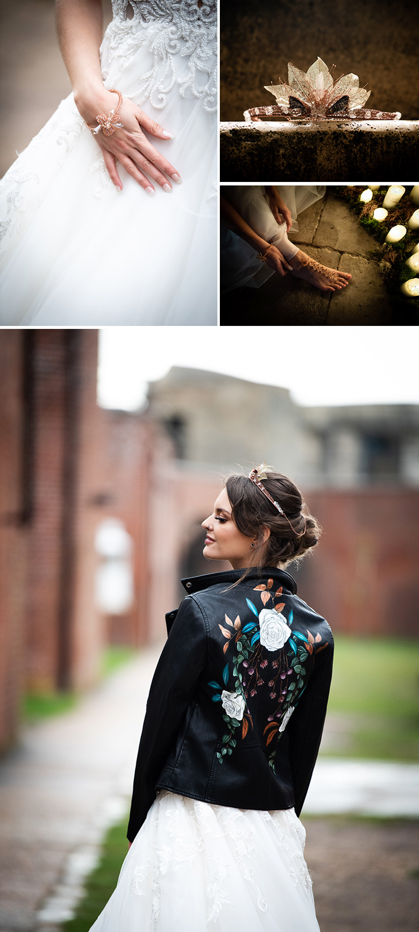 Hand-painted leather bridal jacket in Perfect Wedding Magazine