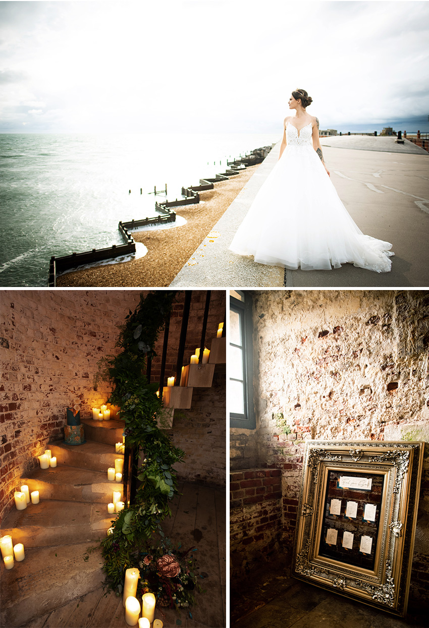 An edgy chic wedding by the sea in Hampshire England bridal style shoot in Perfect Wedding Magazine