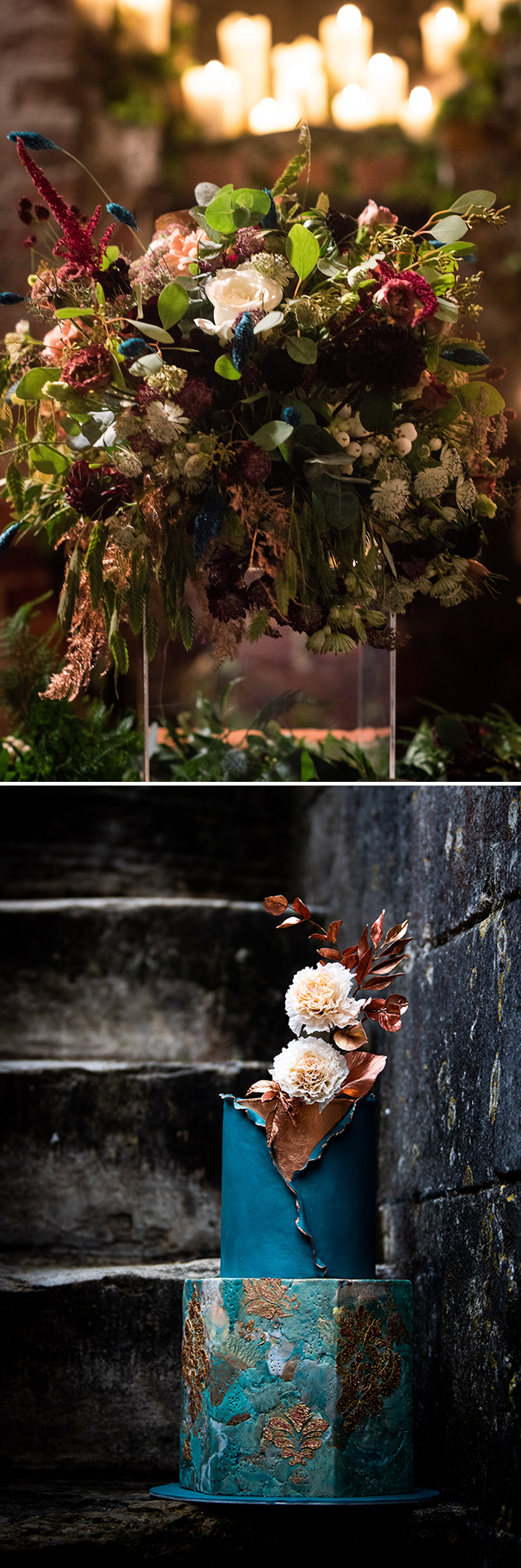 Wedding Cake edgy chic inspiration with teal and copper accents and sugar flowers featured in Perfect Wedding Magazine