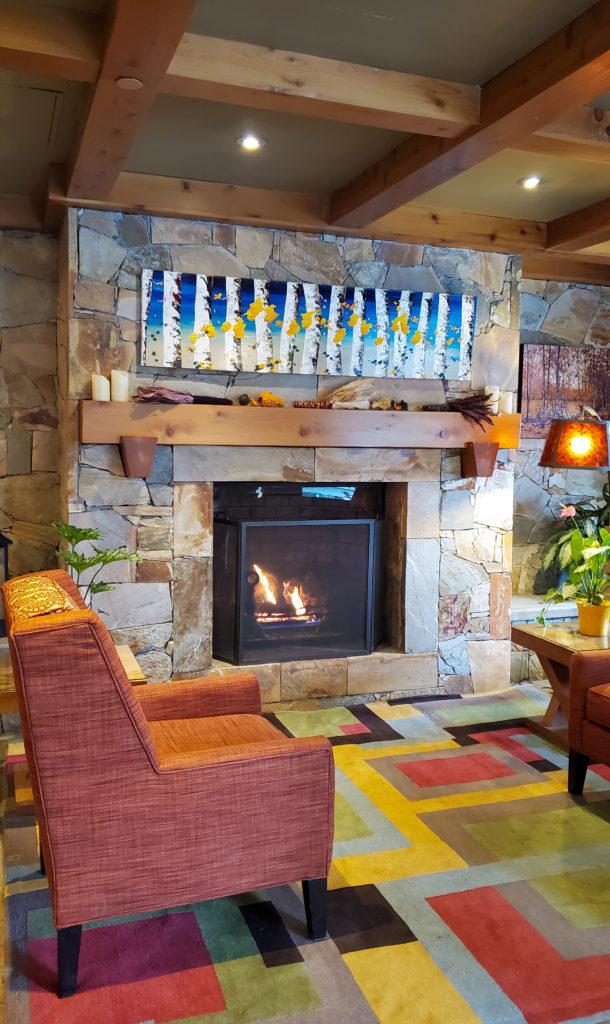 Whistler Sundial Hotel lobby fireplace