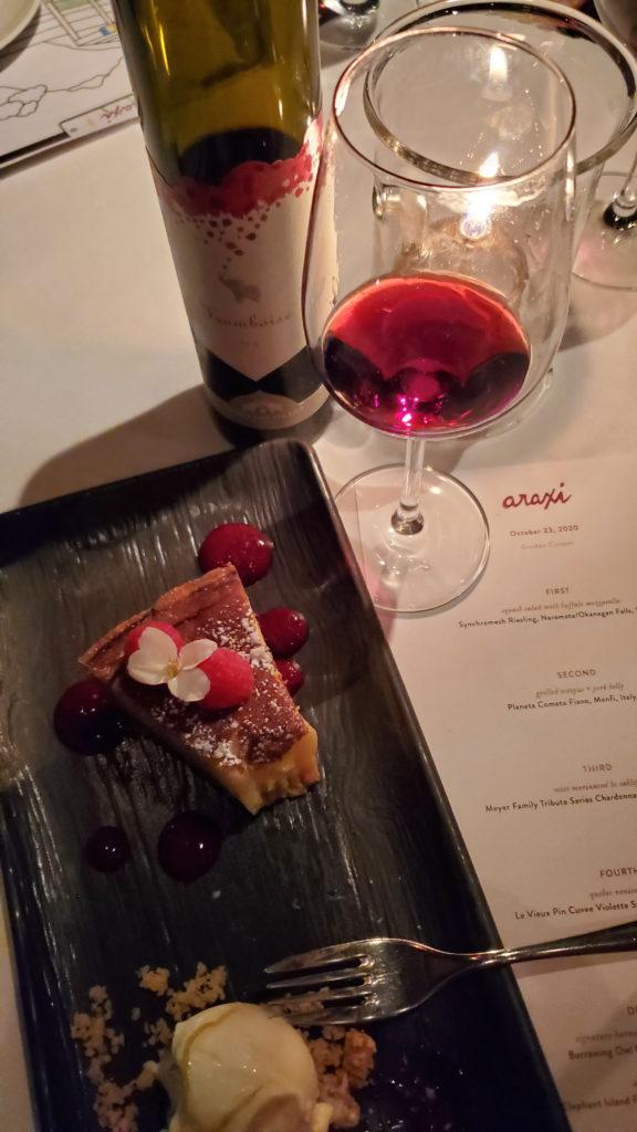 Whistler Araxi port wine with dessert