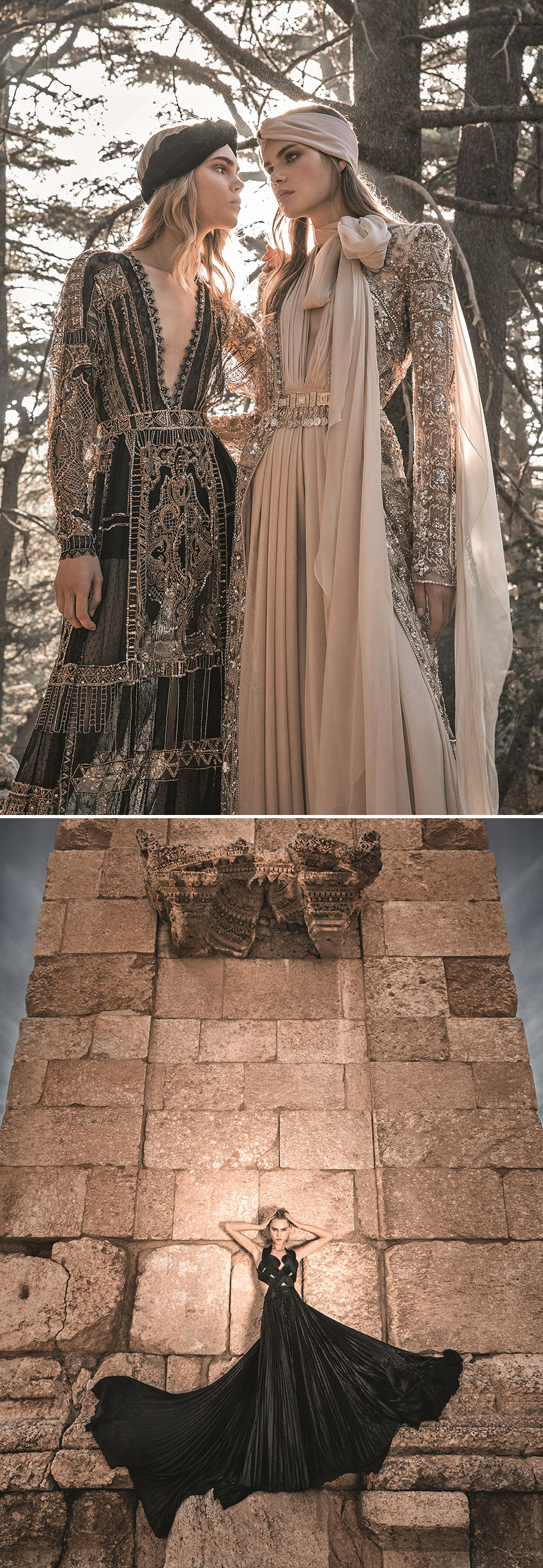 Models Sophie Rask and Line Brems wearing long dresses by Zuhair Murad from Fall 2019 Mirages et Oasis collection photographed at Barouk Natural Reserve featured in Perfect Wedding Magazine