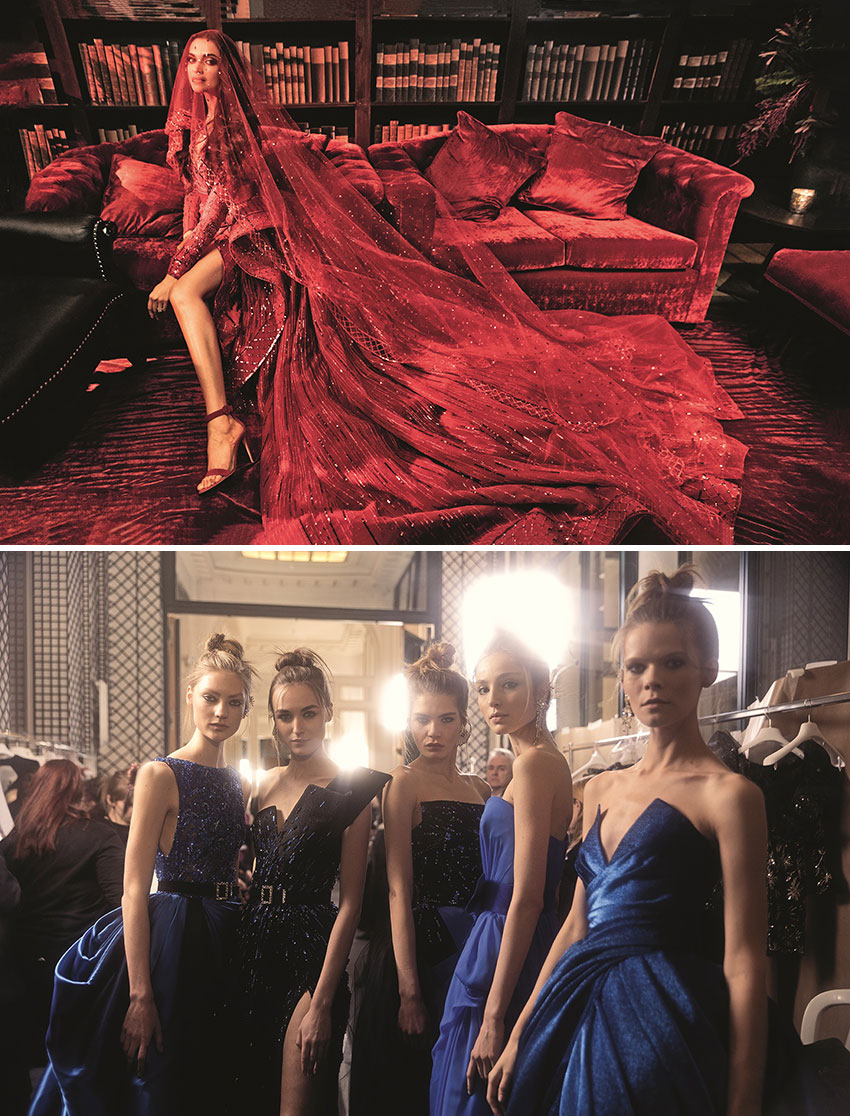 Deepika Padukone at her wedding reception wearing a red dress by Zuhair Murand, next picture models pose at backstage for Zuhair Murad's couture show featured in Zuhair Murad's Book by Assouline Perfect Wedding Magazine
