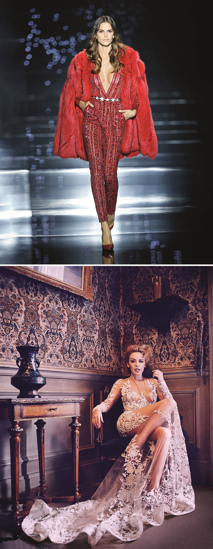 Model Isabel Goulart in the Zuhair Murad catwalk and Singer Kylie Minogue waering a dress from Zuhair Murad's Jardin d'Eden couture collection featured in Perfect Wedding Magazine