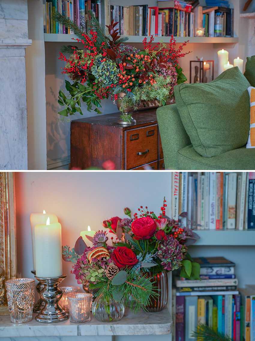 Mcqueens Flowers Noella Christmas collection festive home decor featured in Perfect wedding magazine