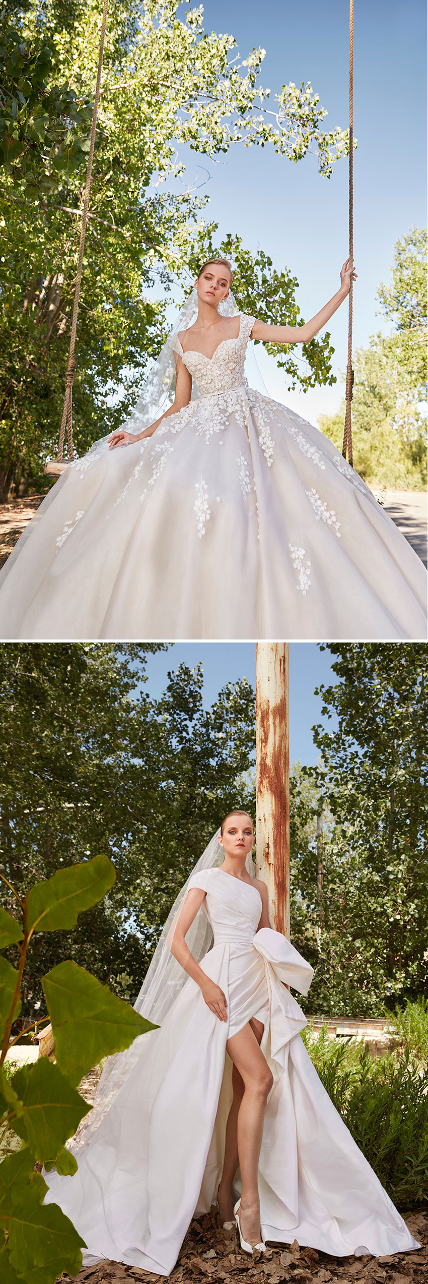 Elie Saab's Spring 2021 bridal collection features wedding dresses with oversized bows and asymmetrical necklines featured in Perfect Wedding Magazine