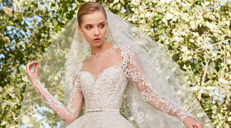 Elie Saab's Spring 2021 bridal collection features wedding dresses with whimsical sweetheart necklines as seen in Perfect Wedding Magazine