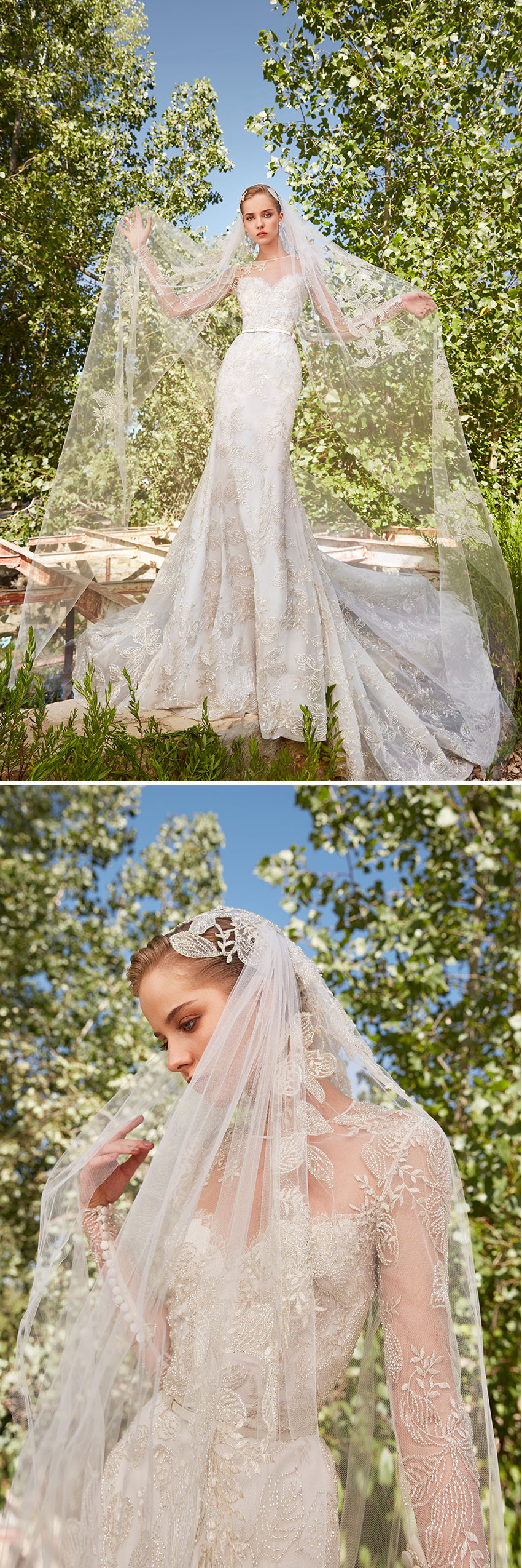 The signature ELIE SAAB Spring 2021 bridal collection white belt and cinched waistlines add a final touch, accentuating the beauty of feminine nature featured in Perfect Wedding Magazine