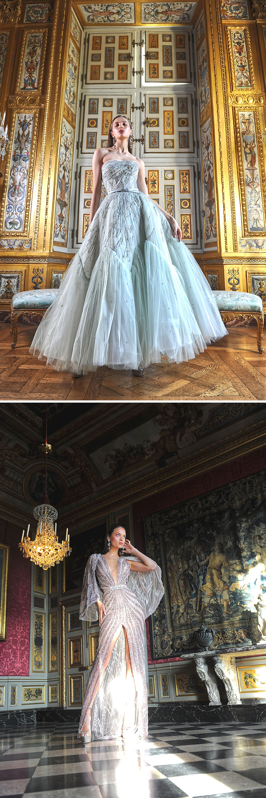 Ziad Nakad Haute Couture Spring Summer 2021 collection includes majestic transparent dresses i