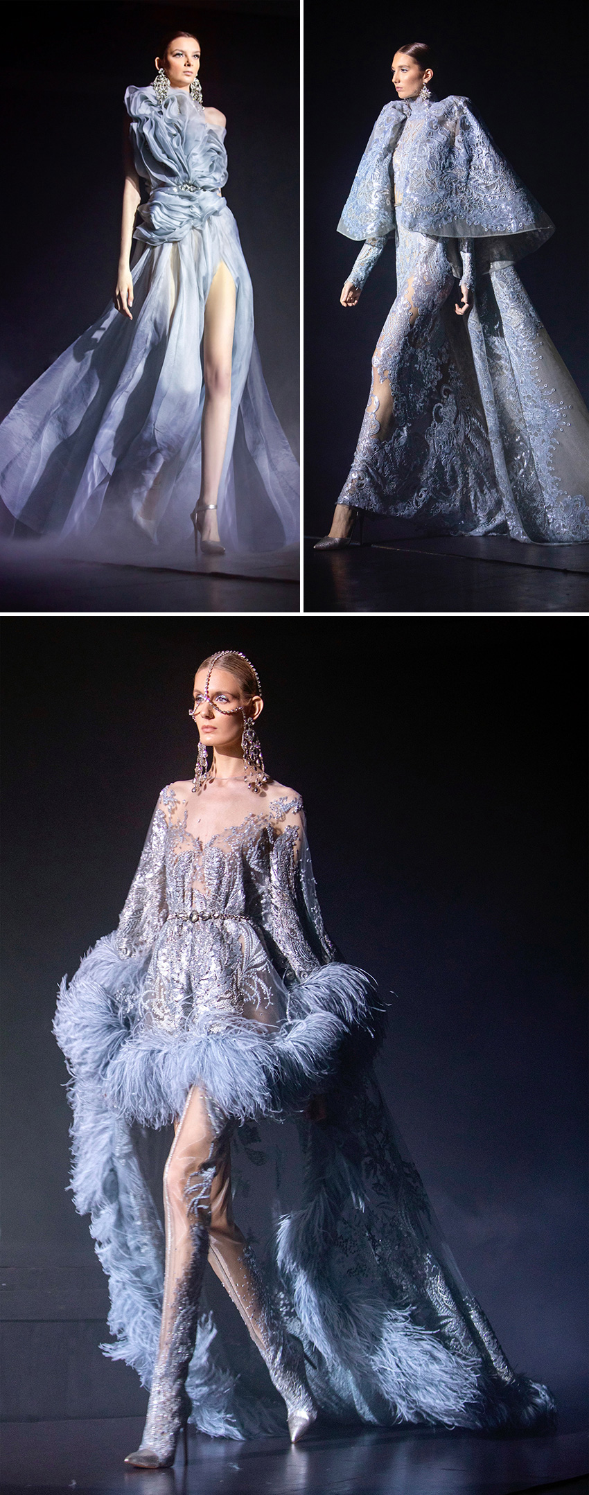 Elie Saab haute Couture Spring Summer 2021 include dresses in silver silk chiffon featured in Perfect Wedding Magazine