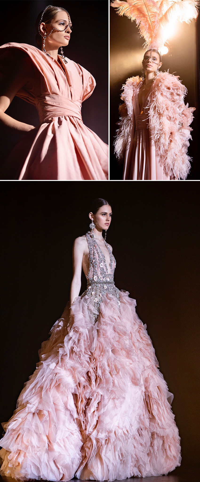 Elie Saab haute Couture Spring Summer 2021 includes chandelier earrings and stellar headpieces with dramatic feather featured in Perfect Wedding Magazine