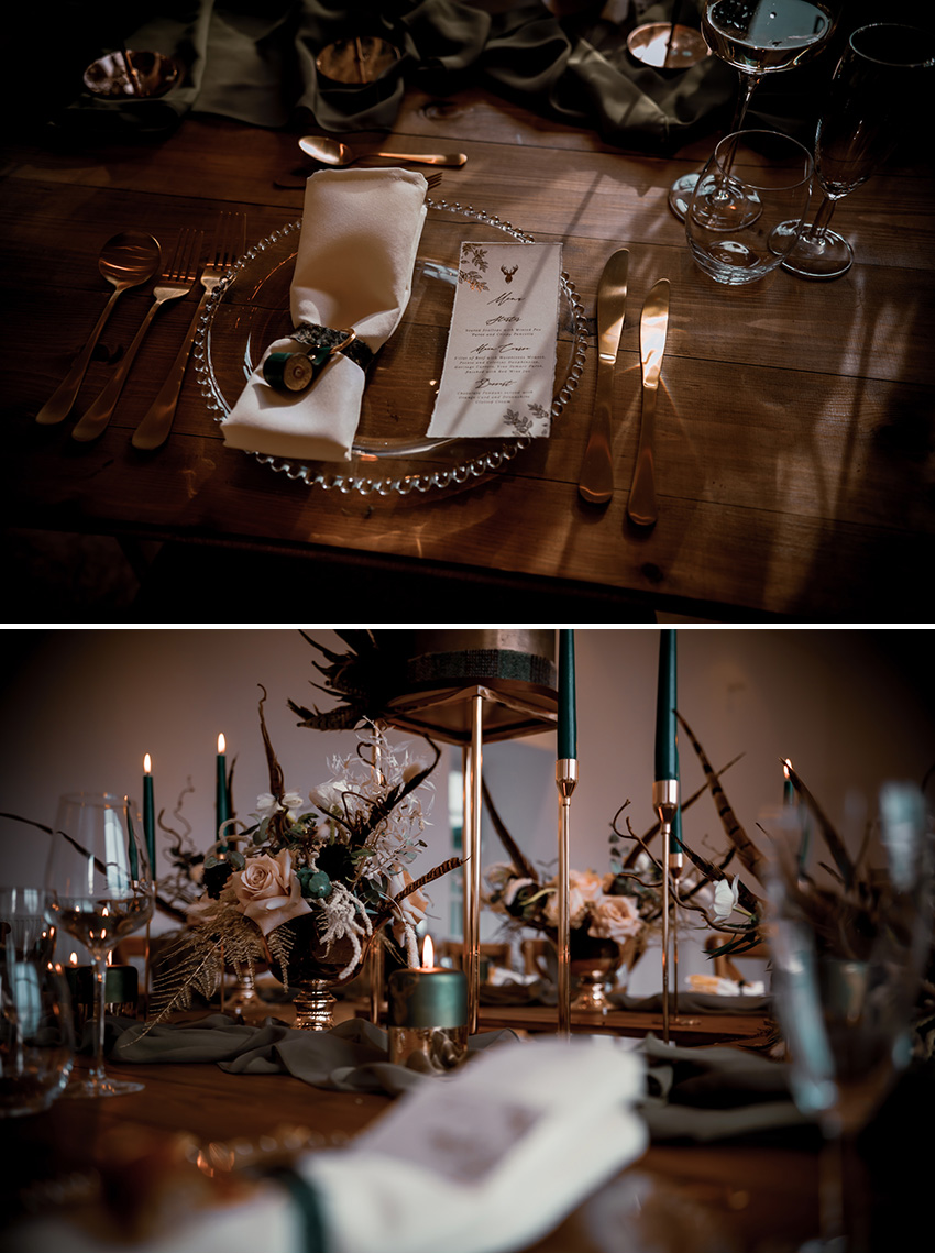 Rustic Table escape decor for a micro wedding styled inspiration featured in Perfect Wedding Magazine