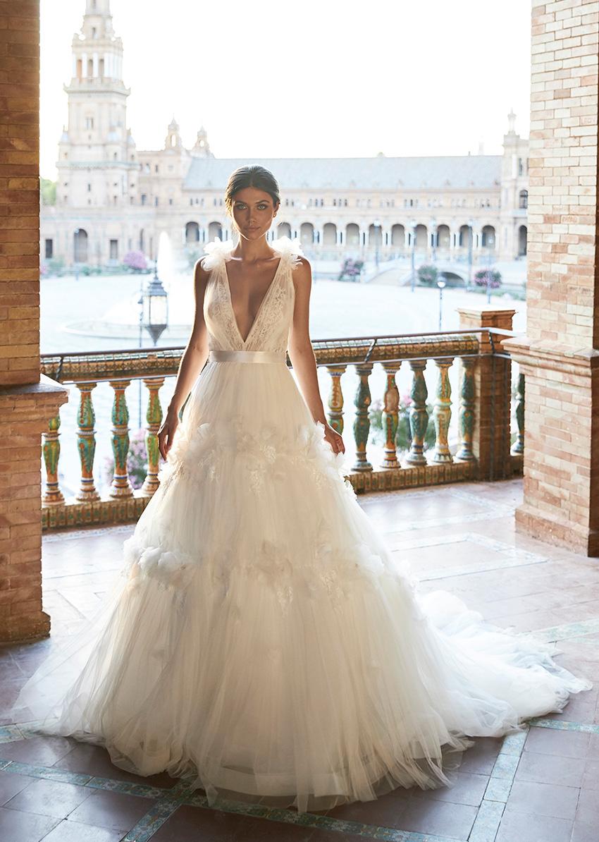 Marchesa for Pronovias V neck dress in Perfect Wedding Magazine