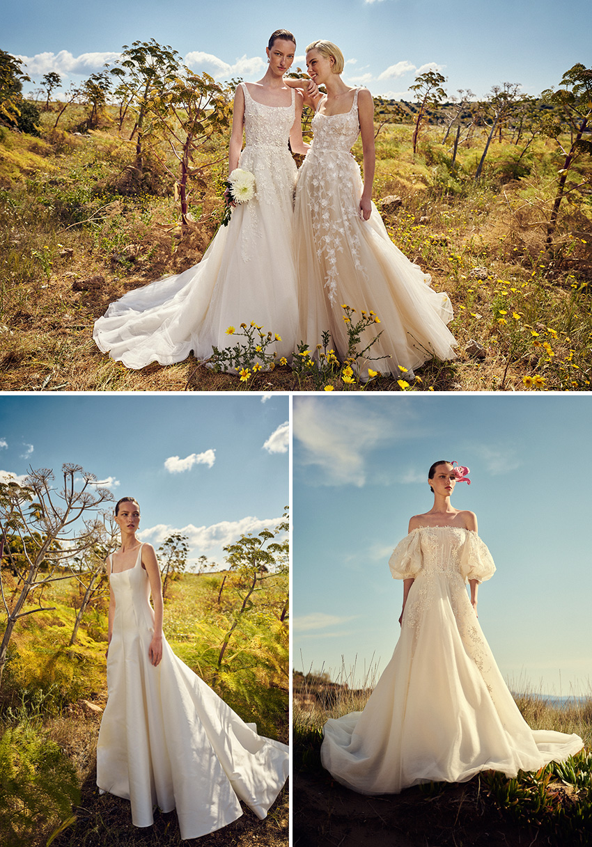 Christos Costarellos Spring 2022 bridal collection includes vintage references and graceful floaty designs