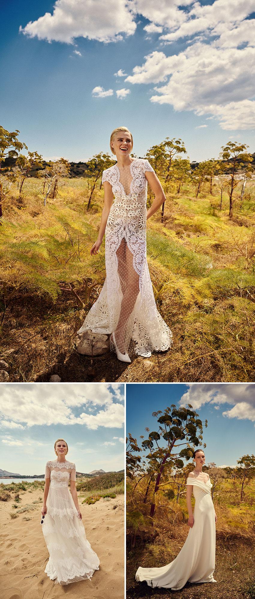 Costarellos Spring 2022 Bridal collection includes delicate seams on a pristine silk crepe dress