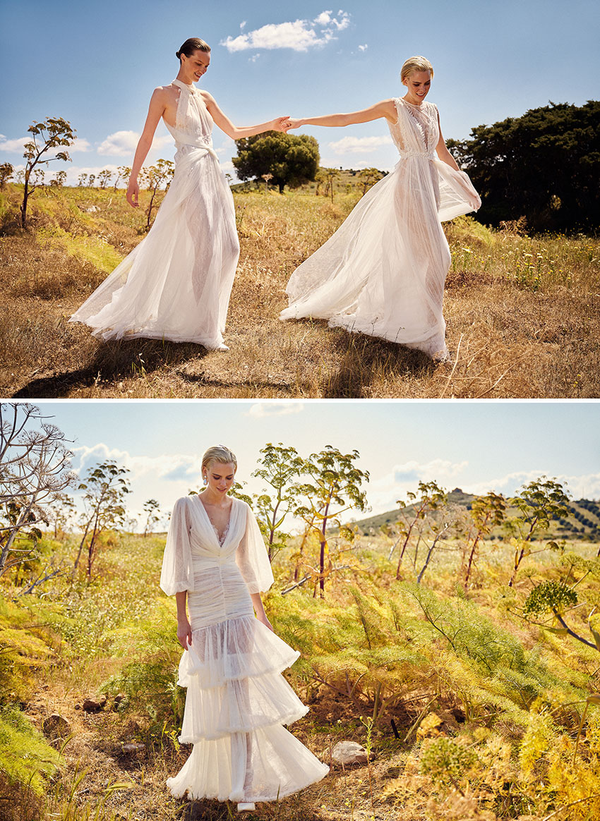 Costarellos Spring 2022 bridal collection integrated a new initiative of up-cycling waste textiles