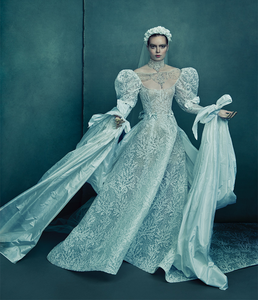 Reem Acra Austri couture dress from the Love and Dreem Spring 2021 couture collection in Perfect Wedding Magazine