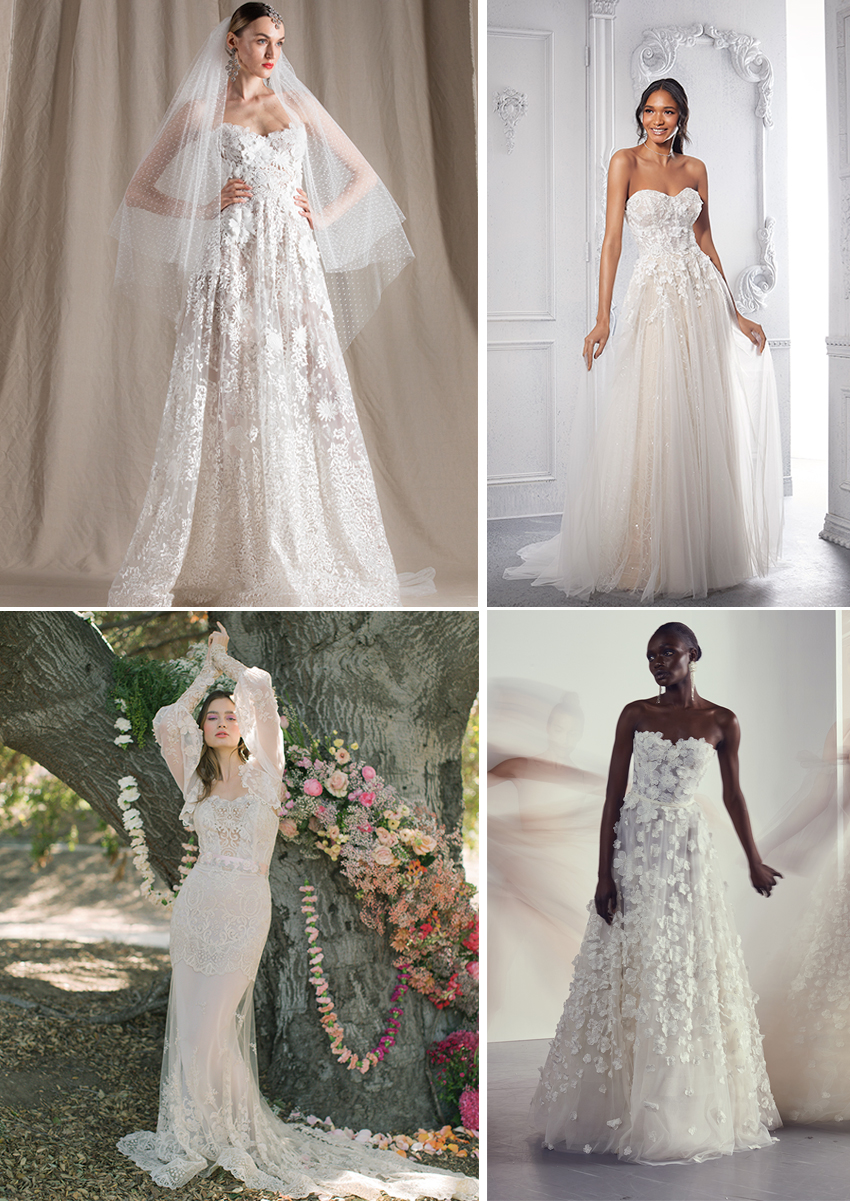 Spring 2022 bridal trends is lace wedding dresses