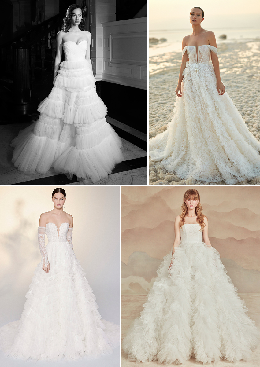 Spring 2022 Bridal trends, wedding gowns with ruffles featured in Perfect Wedding Magazine