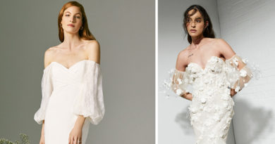 Spring 2022 Bridal Trend is Off the Shoulder sleeves featured in Perfect Wedding Magazine