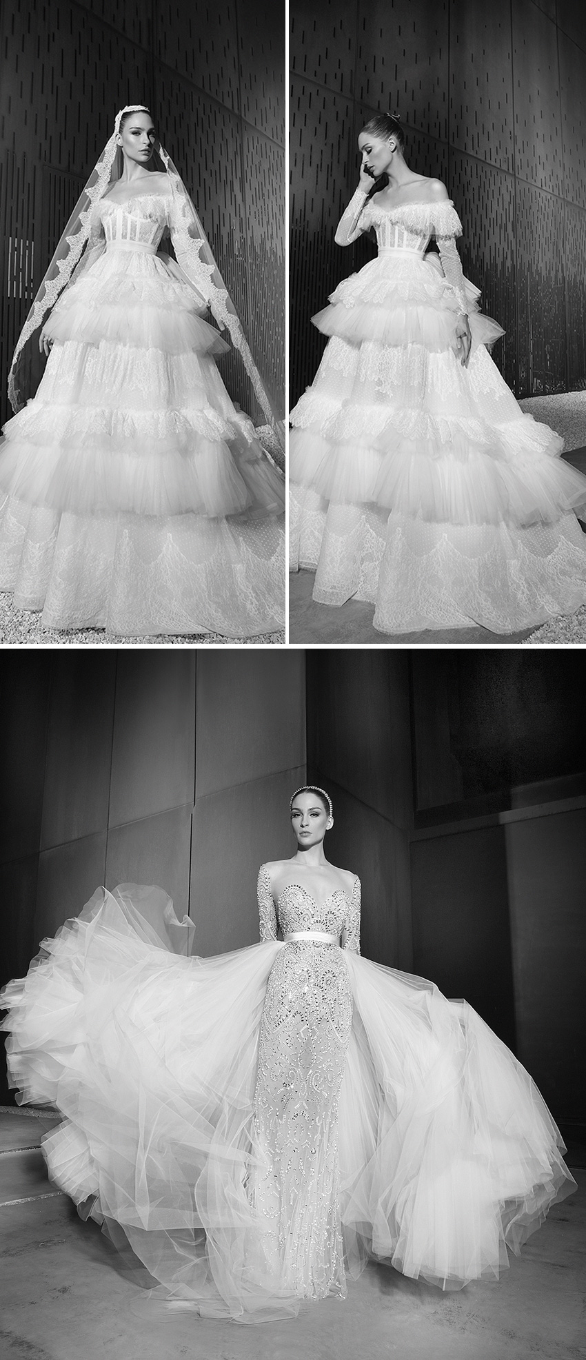 Ruffle silk tulle voluminous dresses in Zuhair Murad Spring 2022 bridal collection