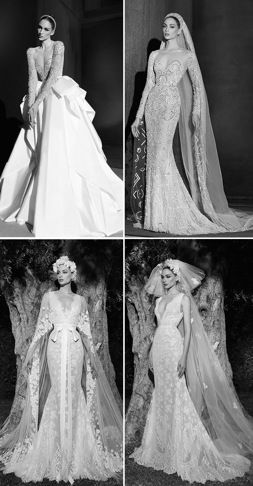 Zuhair Murad Spring 2022 Bridal collection Transparency is ennobled with the embroidered lace in Perfect Wedding Magazine