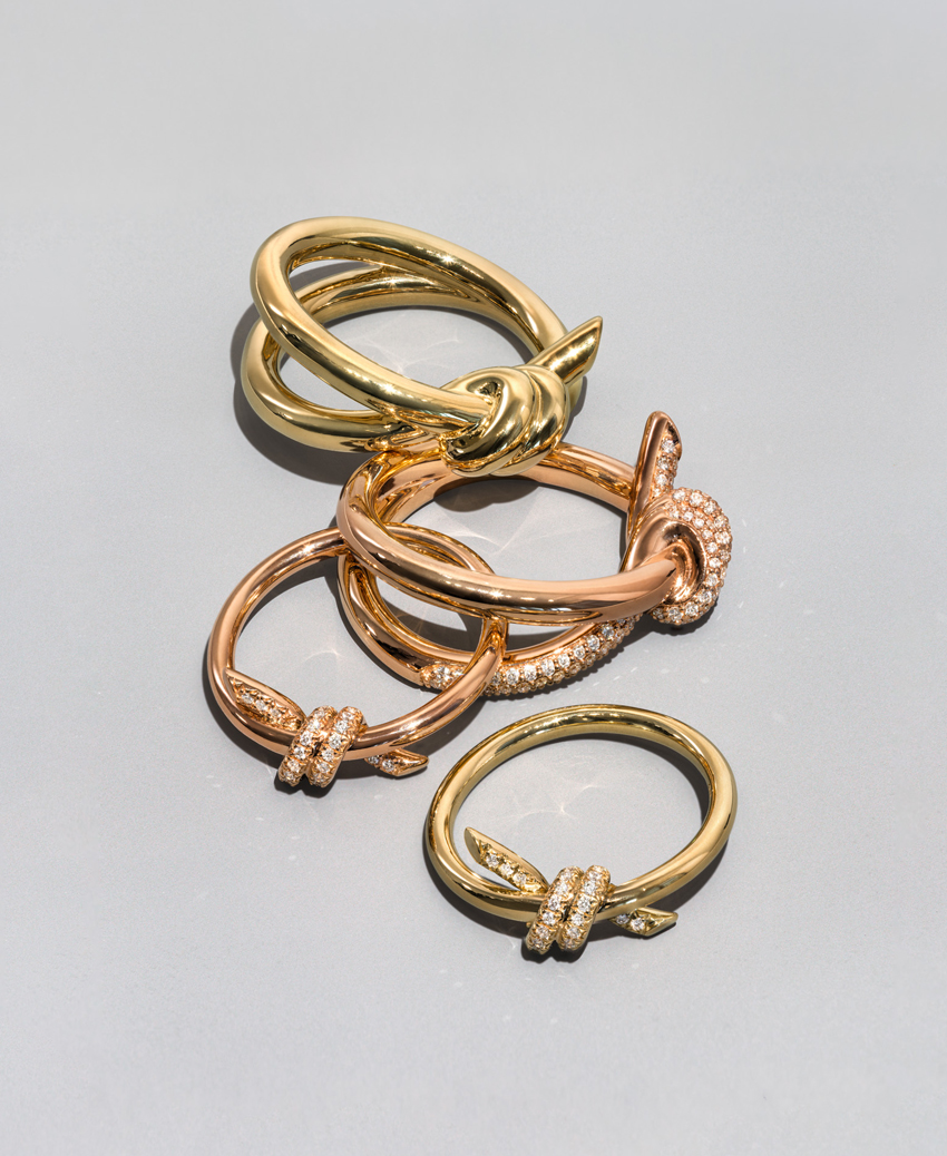 Tiffany Knot rings in yellow gold and rose gold