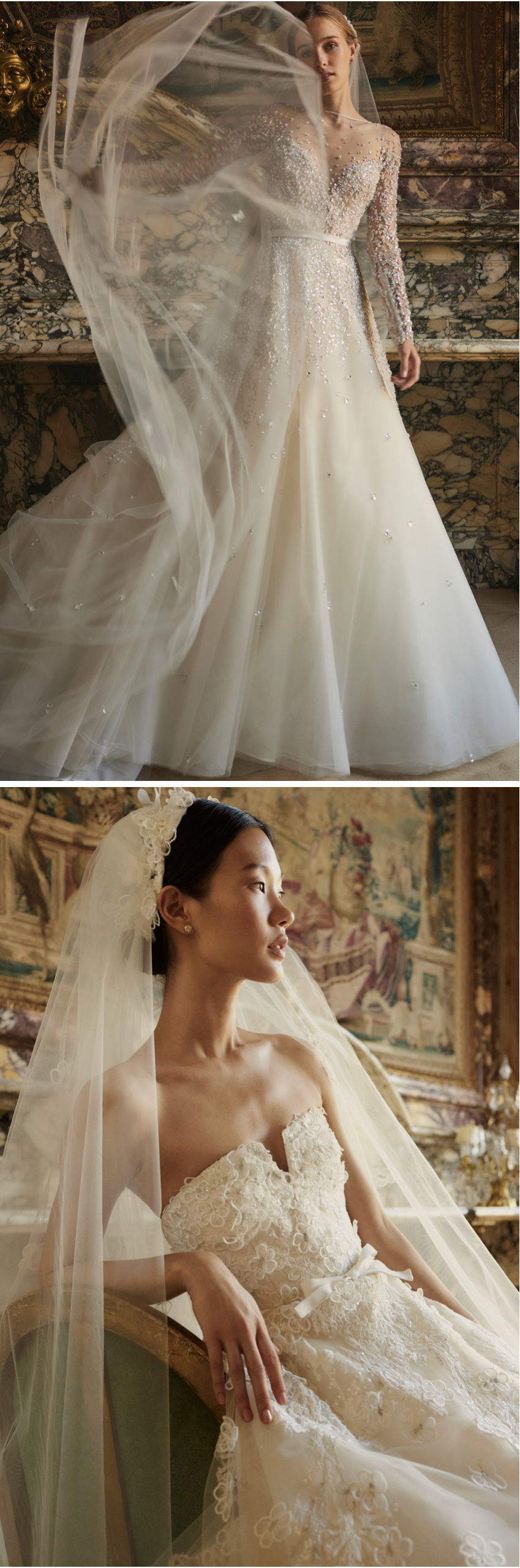 Elie Saab Fall 2022 Bridal Collection Portrait in Motion includes 11 wedding gowns made with the finest fabrics