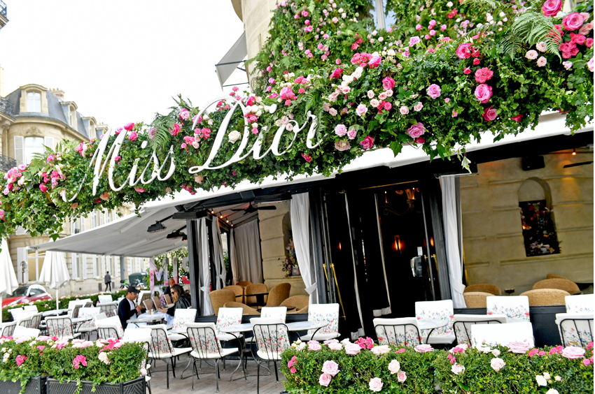 Miss Dior Pop-Up in Paris decor with thousands of flowers