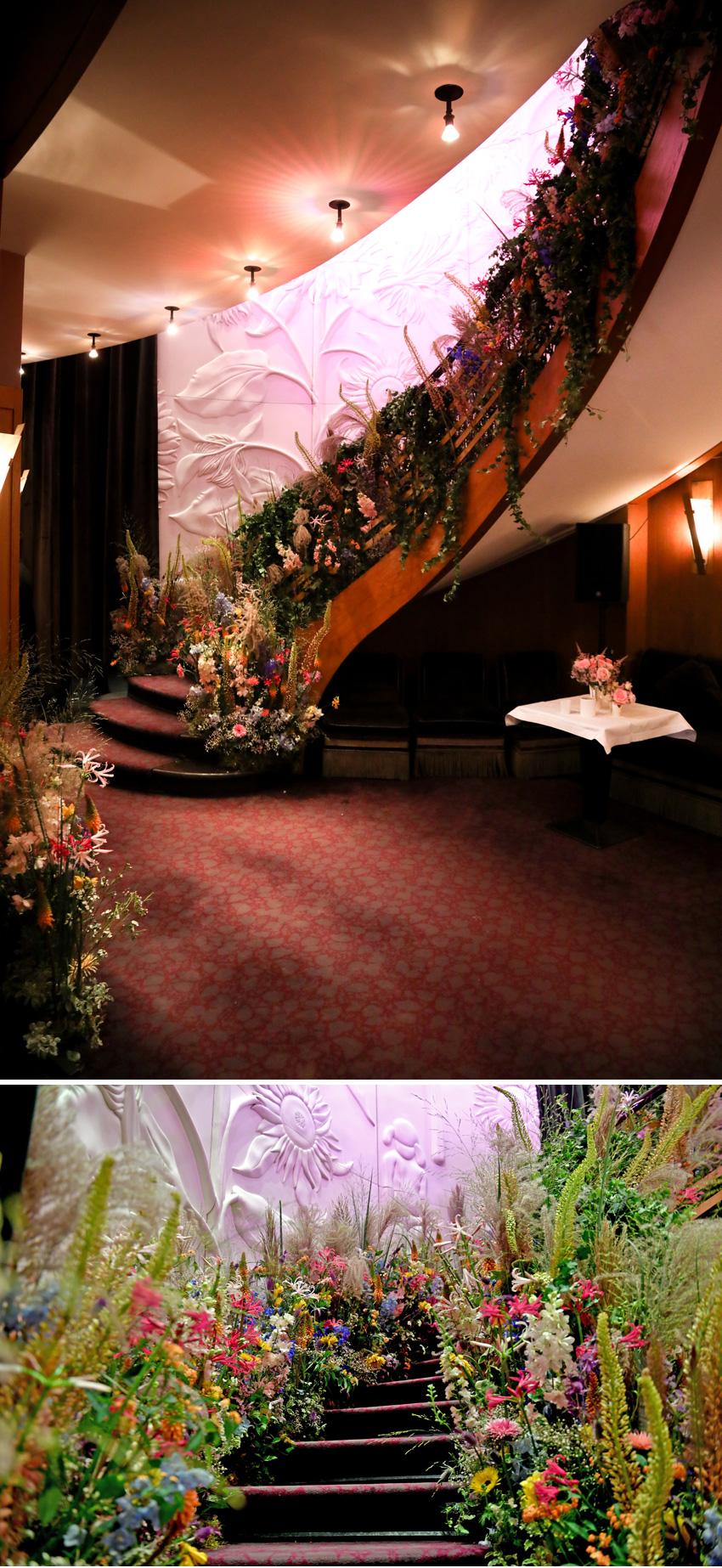 L'Avenue Restaurant in Paris lavish floral decor for Miss Dior Pop-Up